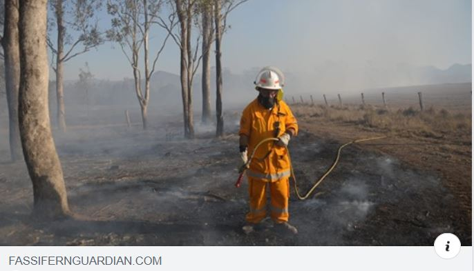 A photo of a firefighter in the fassifern area of SE Qld. Photo is property of fassifern Guardian.